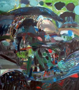 Kiša iznad Crnog vrha, ulje na platnu, 135 X 115 cm, 2009. godina.